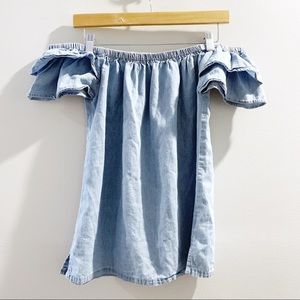 💖Cavalini Off The Shoulder Ruffle Chambray Top